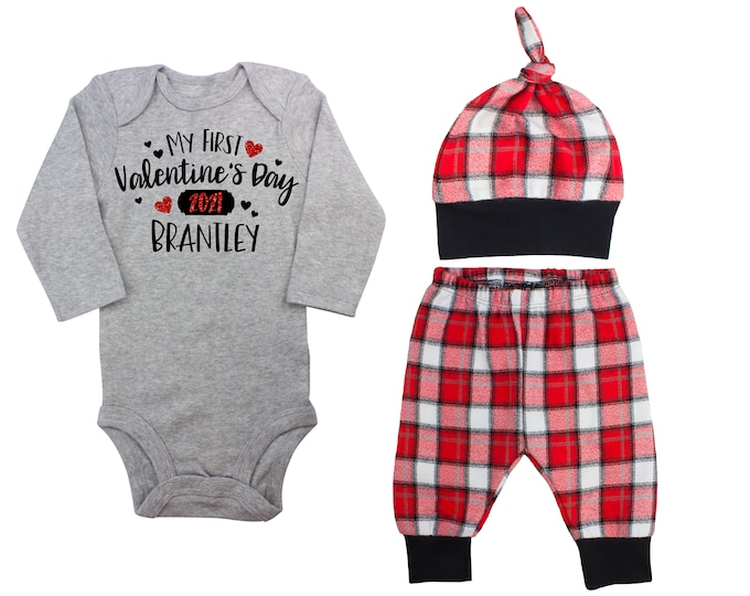 My First Valentine's Day 2021 Red Glitter Vinyl Personalized Outfit Boy Valentines Day Bodysuit Hearts Buffalo Plaid Flannel Pants