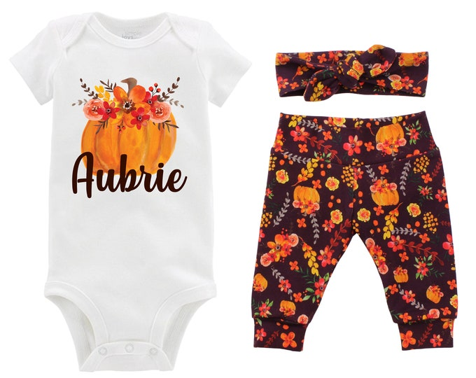 Girl Fall Pumpkin Outfit Personalized Wine Watercolor Floral Yoga Leggings Headband Infant Fall Outfit Floral Pumpkin Orange Name