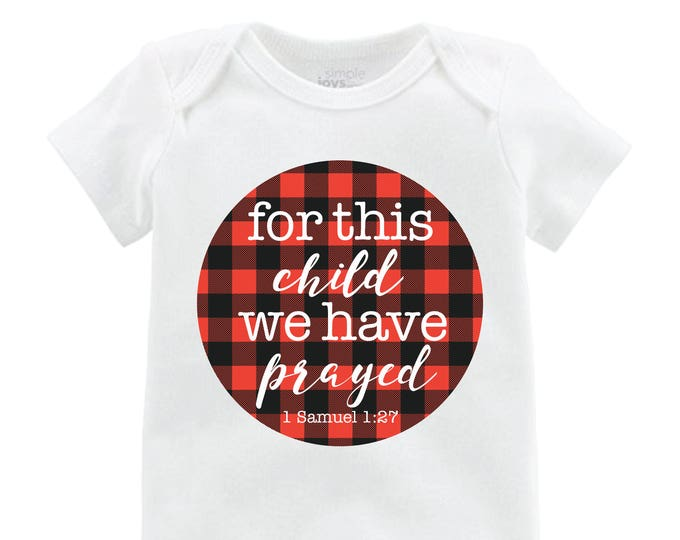 "Boy ""for this child we have prayed"" Red Black Buffalo Plaid We Have Prayed Adoption Infertility Onesie Boy Newborn Going Home Outfit Raglan"