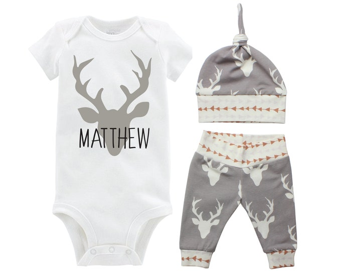 Personalized Boy Going Home Set Deer Gray Bodysuit Infant Gift Set Monogram Boy Coming Home Outfit Buck Deer Grey Gift
