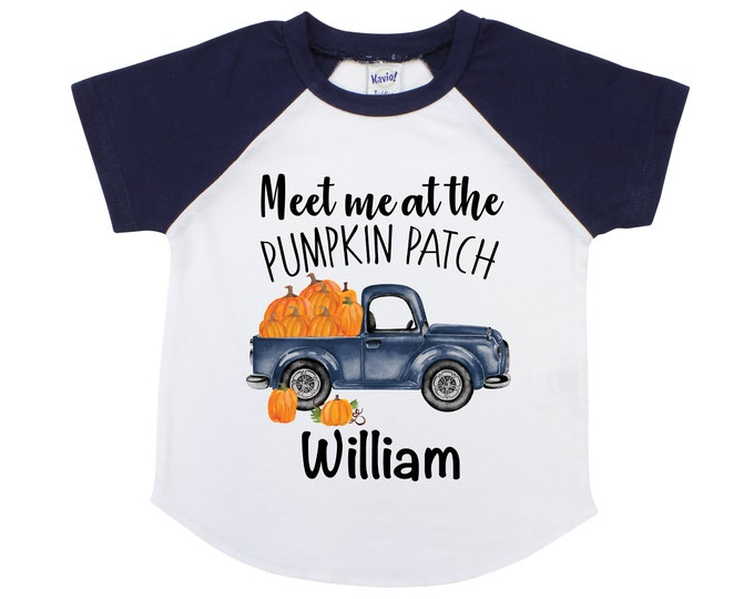 Meet me at the Pumpkin Patch Boy Personalized Boy Pumpkin Patch Shirt Boyish Fall Shirt Old Blue Truck with Pumpkins Vintage Truck Shirt