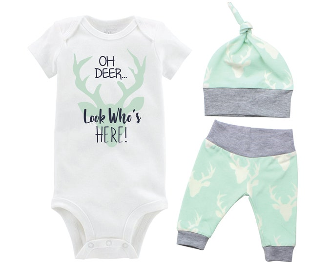 Oh Deer Look Who's Here Boy Coming Home Set Mint Gray Onesie Bodysuit Infant Gift Set Boy Going Home Outfit Buck Grey Mint Baby Shower Gift