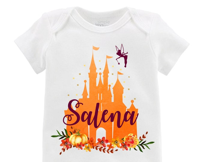 Fall Cinderella Castle Fall Floral Orange Ruffle Raglan Shirt Personalized Flutter Sleeve Fall Floral Girl Shirt Watercolor Floral