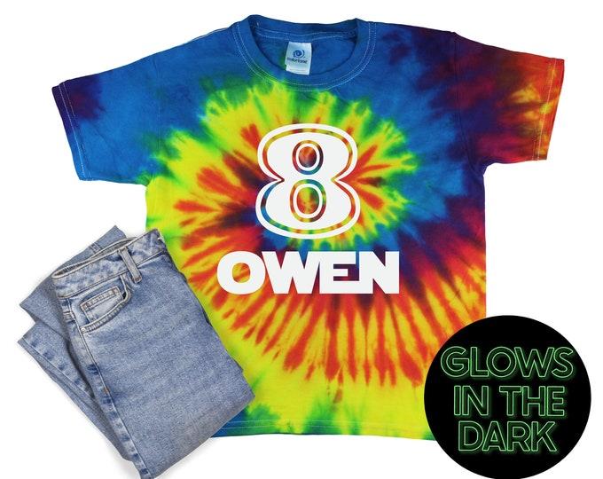 Birthday Boy Tie Dye Glow in the Dark Shirt Reactive Rainbow Tie Dye Age Birthday Party Shirt Boy Birthday Year Unisex Tie Dye T-Shirt