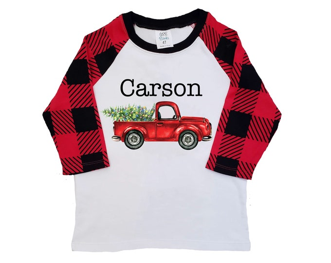 Boy Christmas Shirt Red Truck Christmas Tree Lights Personalized Buffalo Plaid Raglan Old Red Truck Boy Toddler Baby Youth Shirt Red Black