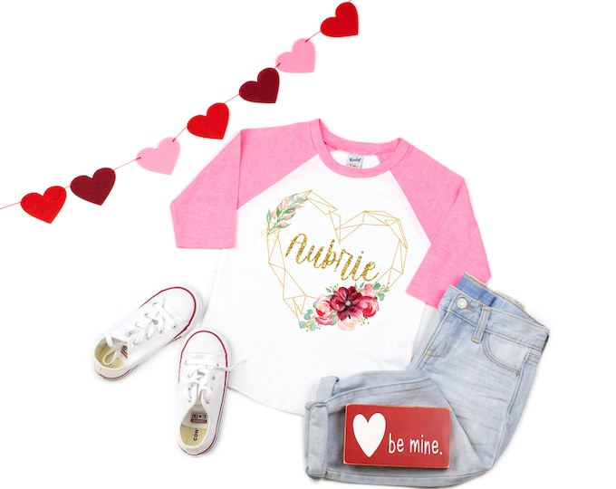 Girl Valentine's Day Shirt Watercolor Floral Heart Personalized Glitter Name Shirt Valentine Raglan Shirt for a Girl Monogram Heart Gold