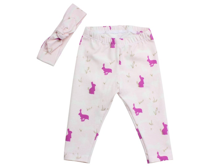Bunny Easter Baby Leggings Bunnies Pink Purple Toddler Leggings Top Knot Headband Girly Leggings Bunny Rabbits Baby Pants Gift First Easter