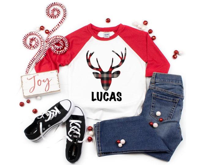 Plaid Deer Shirt Personalized Boy Shirt Buffalo Plaid Deer Boy Baby Shirt Boy Baby Boy Bodysuit Boy Raglan Shirt Red Plaid Shirt