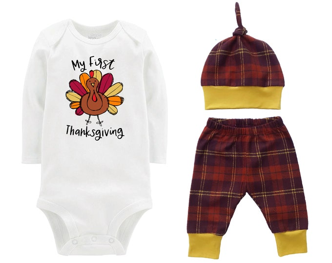 My First Thanksgiving Turkey Fall Personalized Outfit Pumpkin Plaid Brown Rust Mustard Flannel Pants Baby Bodysuit Shirt Gift Top Knot Hat