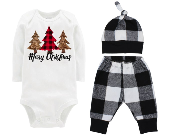 Girl Merry Christmas Plaid Leopard Christmas Pine Trees Outfit White Buffalo Plaid Flannel Red Black Girl Flannel Infant Xmas Winter Outfit