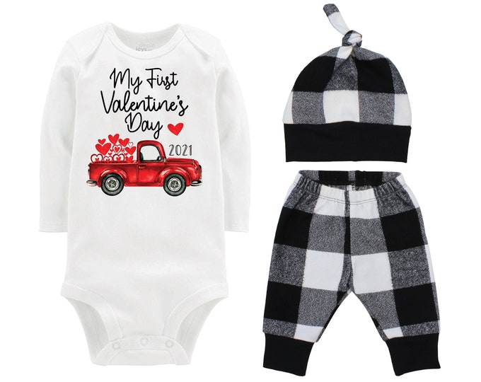 My First Valentine's Day 2021 Truck Personalized Outfit Boy Valentines Day Bodysuit Hearts Vintage Truck Buffalo Plaid Flannel Pants