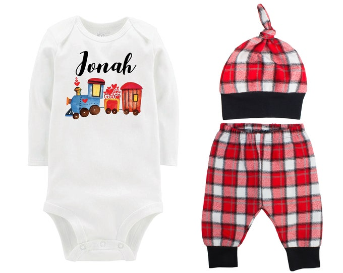 Baby Boy Valentine's Day Train Personalized Outfit Boy Valentines Day Love Hearts Train Bodysuit Baby Boy Buffalo Plaid Flannel Pants