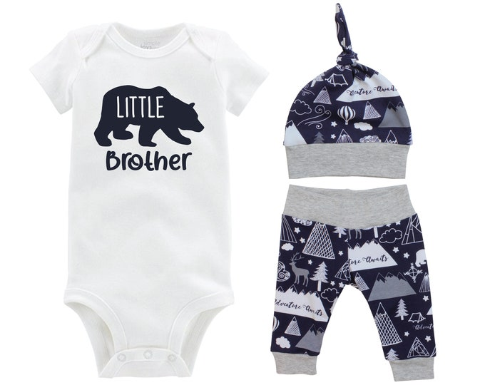 Little Brother Boy Going Home Set Bear Navy Gray Bodysuit Adventure Yoga Pants Hat Infant Gift Set Boy Coming Home Outfit Mountains Trees