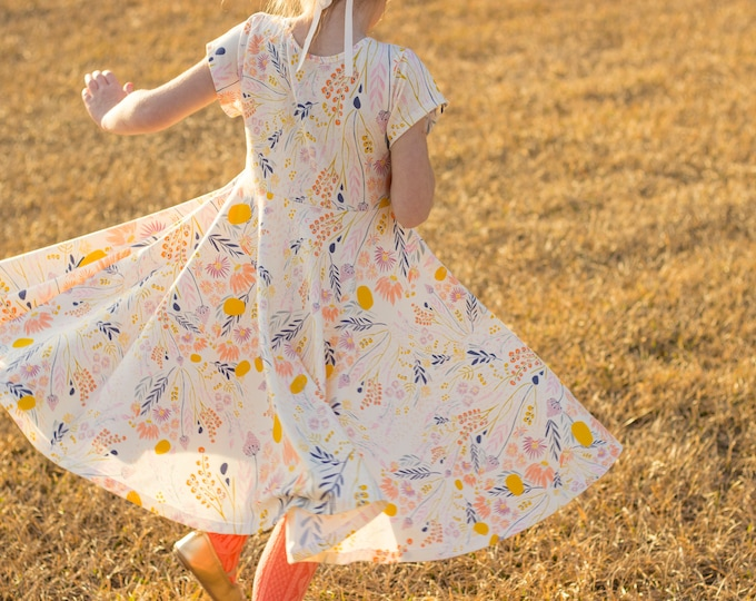 Wild Flower Easter Dress Spring Dress Twirly Easter Dress Toddler Dress Girl Dress Summer Dress Twirl Dress Short Sleeve Twirly Knit Dress