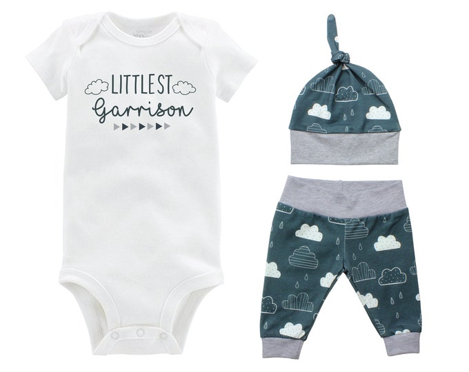 Personalized Littlest Boy Going Home Set Bodysuit Infant Gift Set Clouds Boy Coming Home Outfit Last Name New Boy Baby Shower Gift Newborn