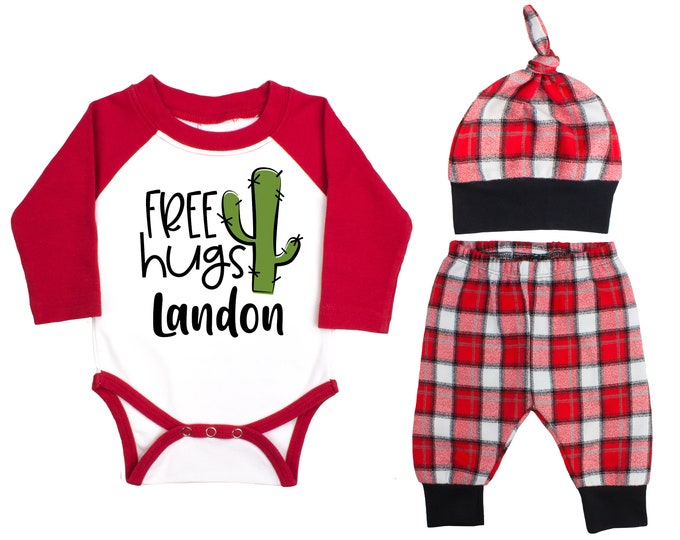 Baby Boy Valentine's Day Free Hugs Cactus Personalized Baby Raglan Outfit Boy Valentines Day Bodysuit Baby Boy Buffalo Plaid Flannel Pants