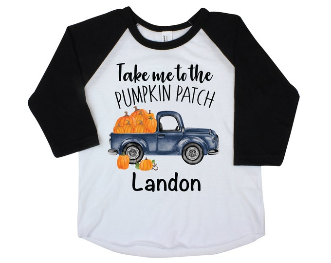 Boy Pumpkin Patch Shirt Personalized Raglan Fall Boy Shirt Pumpkin Patch Shirt Halloween Shirt Boy Truck Shirt Old Blue Truck Shirt Fall