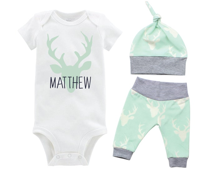 Personalized Deer Boy Going Home Set Monogram Mint Gray Onesie Bodysuit Infant Gift Set Boy Coming Home Outfit Mint Grey Baby Shower Gift