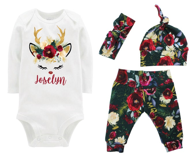 Girl First Christmas Reindeer Outfit Personalized Watercolor Floral Yoga Leggings Headband Infant Winter Outfit Green Gold Burgundy Maroon