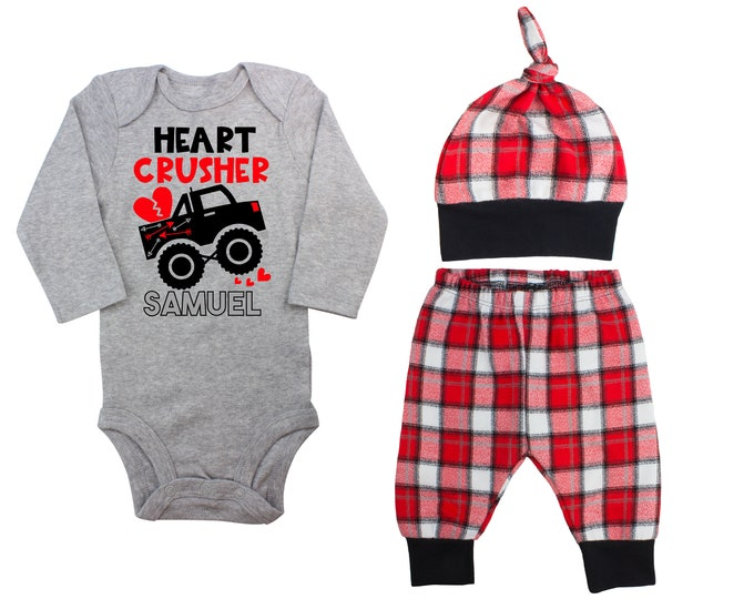 Baby Boy Valentine's Day Monster Truck Personalized Outfit Valentines Day Heart Crusher Bodysuit Baby Boy Buffalo Plaid Flannel Pants