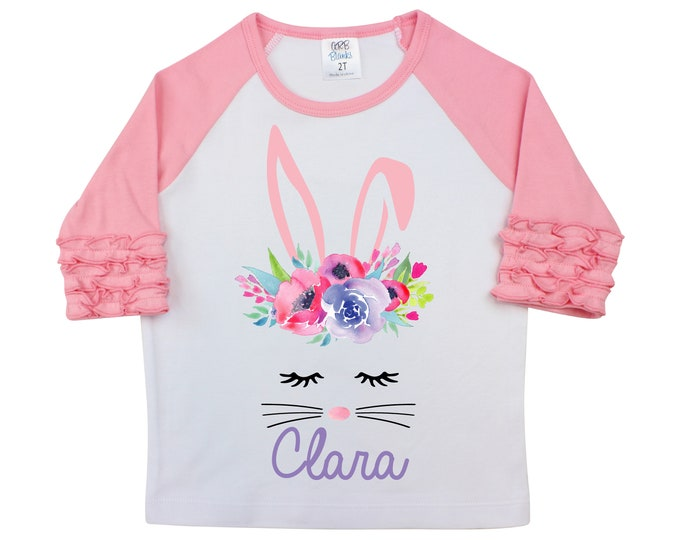 Girl Easter Shirt Watercolor Floral Bunny Face Personalized Ruffle Raglan Easter Shirt Bodysuit Flutter Sleeve Girl Shirt Monogram Flowers