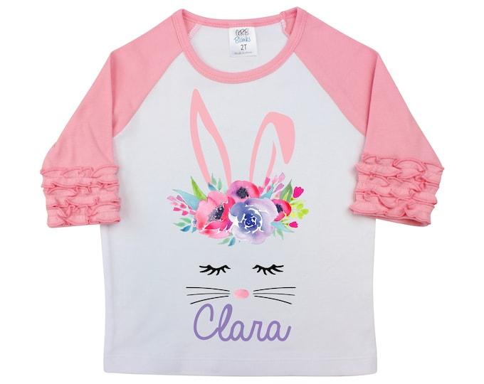 Girl Easter Shirt Watercolor Floral Bunny Face Personalized Ruffle Raglan Easter Shirt Bodysuit Flutter Sleeve Girl Shirt Monogram Flowers