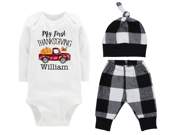 My First Thanksgiving Turkey Fall Personalized Vintage Truck Outfit Pumpkin Black White Flannel Pants Baby Bodysuit Shirt Gift Top Knot Hat