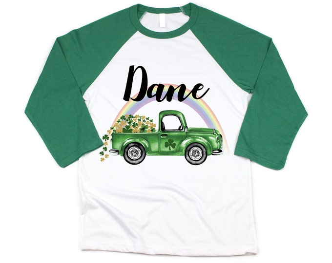 St. Patricks Day Shamrock Truck Boy St. Patty's Day Rainbow Clover Lucky Green Truck Personalized Shirt Toddler Kids Green Raglan Boy