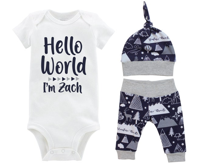 Boy Hello World Personalized Coming Home Outfit Adventure Awaits Mountains Deer Bear Navy Gray Gift Set Going Home Baby Shower Gift Newborn