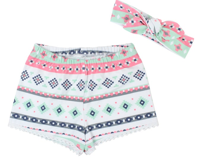 Girls Shorts Baby Shorts Lace Trimmed Shorts Baby Headband Pirot Evoked Silver Tribal Print Child American Made Handmade Girl Baby Clothing