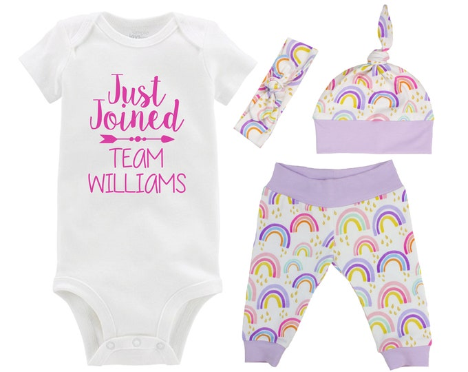 Just Joined the Team Rainbow Baby Girl Coming Home Outfit Pastel Watercolor Rainbow Yoga Leggings Knot Hat Headband Miscarriage Infant Loss