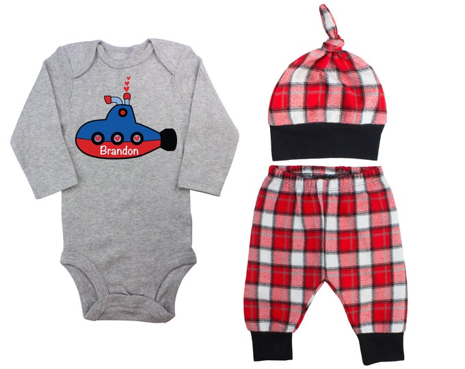 Baby Boy Valentine's Day Submarine Personalized Outfit Boy Valentines Day Love Hearts Bodysuit Baby Boy Buffalo Plaid Flannel Pants