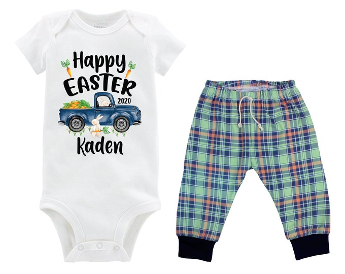 Boy Happy Easter Outfit Personalized Baby Easter Bunny Truck Boy Plaid Pants Carrots Going Home Outfit Mint Navy Boy Baby Gift Boyish Bunny
