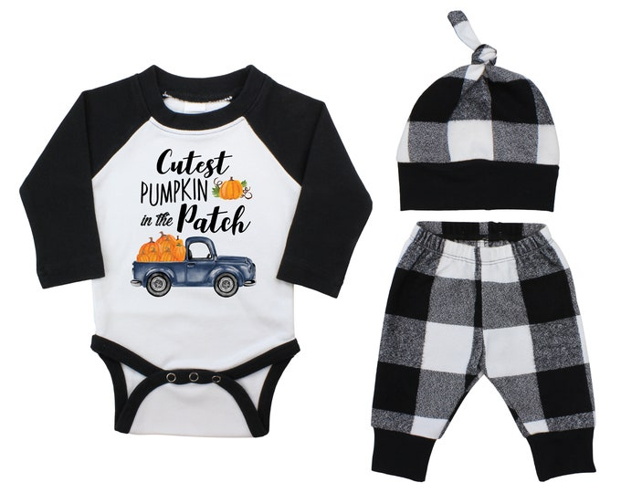 Boy Cutest Pumpkin In The Patch Outfit Fall Baby Raglan Outfit Fall Plaid Pants Knot Hat Pumpkins Black White Plaid Baby Bodysuit Raglan