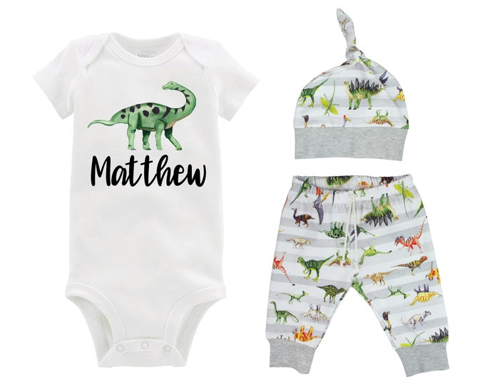 Boy Dinosaur Outfit Personalized T-Rex Tyrannosaurus Triceratops Boy Gray White Boy Leggings Green Dinosaurs Going Home Outfit Boy Baby Gift