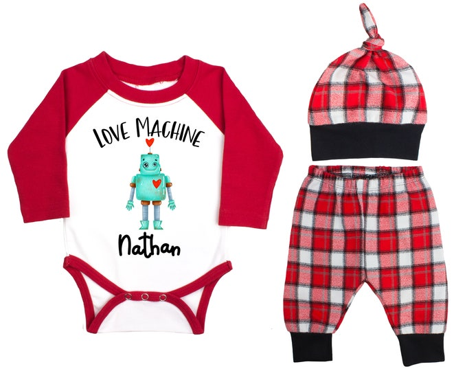 Baby Boy Valentine's Day Robot Love Machine Personalized Raglan Outfit Boy Valentines Day Bodysuit Buffalo Plaid Flannel Pants Knot Hat