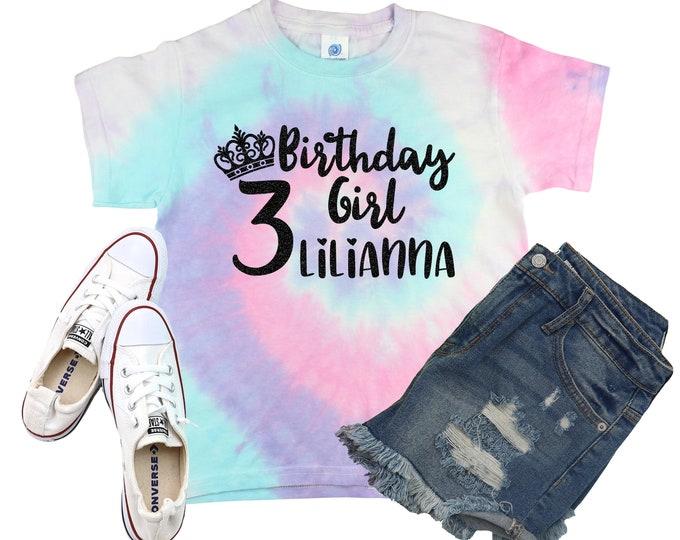 Birthday Girl Princess Unicorn Tie Dye Shirt Galaxy Bright Black Glitter Vinyl Birthday Girl Shirt Party Shirt Girl Tie Dye Bday Shirt