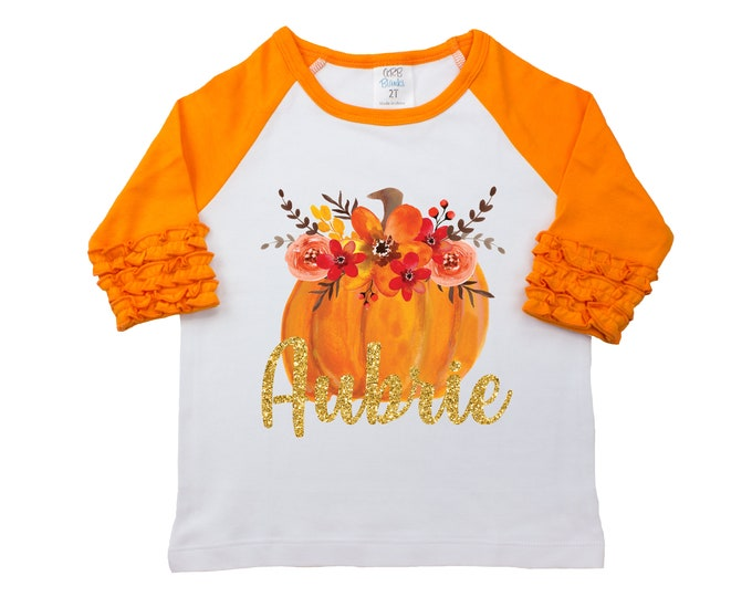 Fall Floral Pumpkin Shirt Glitter Name Personalized Watercolor Floral Girl Shirt Orange Gold Glitter Name Halloween Thanksgiving Pumpkin
