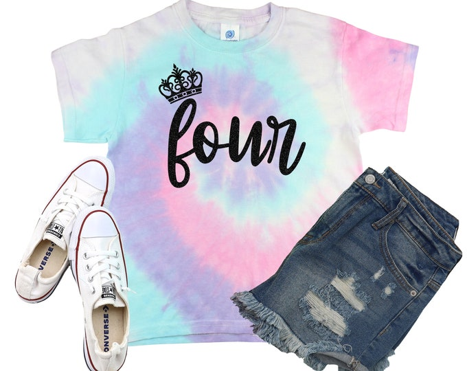 Birthday Girl Tie Dye Shirt Bright Black Glitter Vinyl Princess Crown Birthday Girl Shirt Birthday Party Shirt Girl Tie Dye Birthday Shirt