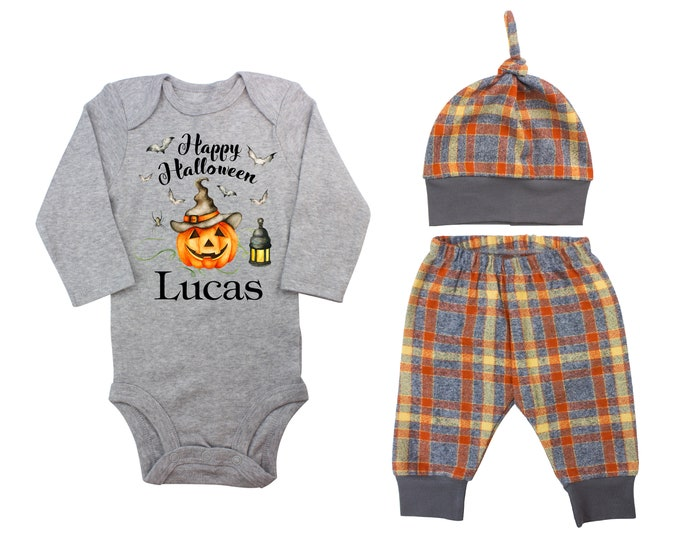 Happy Halloween Jack-O-Lantern Personalized Outfit Fall Baby Outfit Fall Plaid Pants Knot Hat Orange Gray Pants Boyish Halloween Onesie