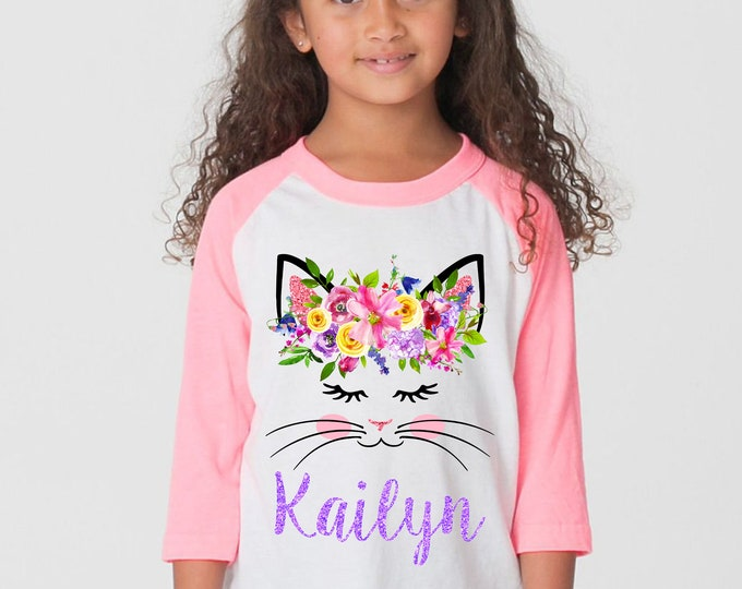 Watercolor Floral Cat Face Shirt Personalized Name Shirt Sleepy Kitty Cat Face Raglan Shirt Pink Bright Flowers Pink Purple Yellow Birthday