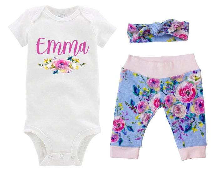 Personalized Newborn Going Home Outfit Girl Baby Name Blue Pink Yellow Watercolor Floral Yoga Pants Knot Headband Infant Gift Set Monogram