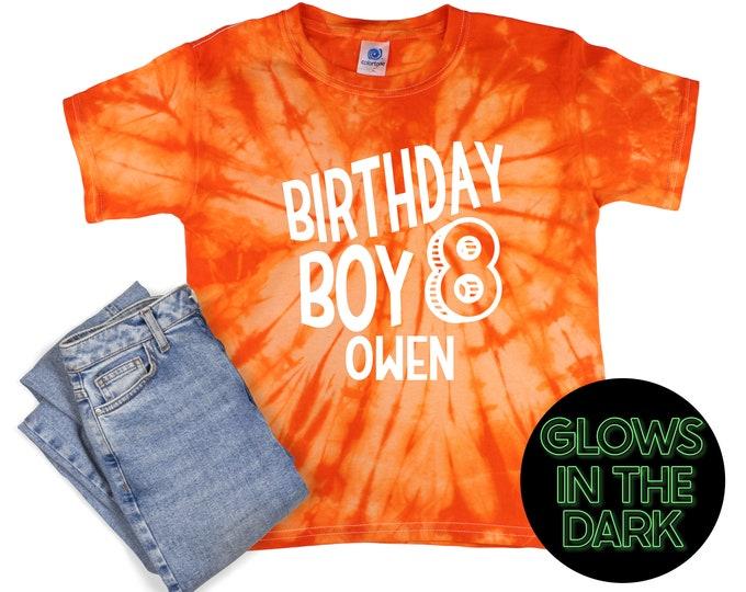 Birthday Boy Tie Dye Glow in the Dark Shirt Orange Spider Age Birthday Party Shirt Boy Birthday Year Orange Spiral Unisex T-Shirt