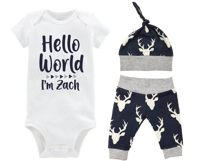 Boy Hello World Personalized Name Coming Home Outfit Bodysuit Infant Gift Set Gray Navy Deer Boy Going Home Set Baby Shower Gift Newborn
