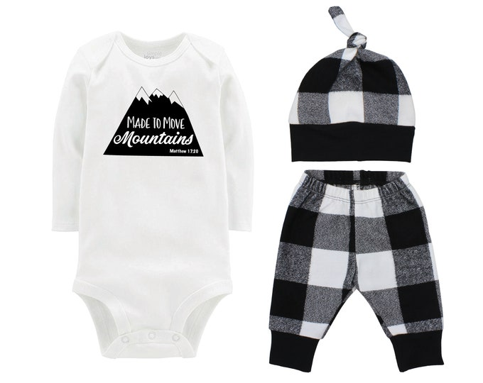 Boy Coming Home Outfit Going Home Outfit Made to Move Mountains Black Buffalo Plaid Pants Winter Baby Outfit Fall Baby Outfit Buffalo Check