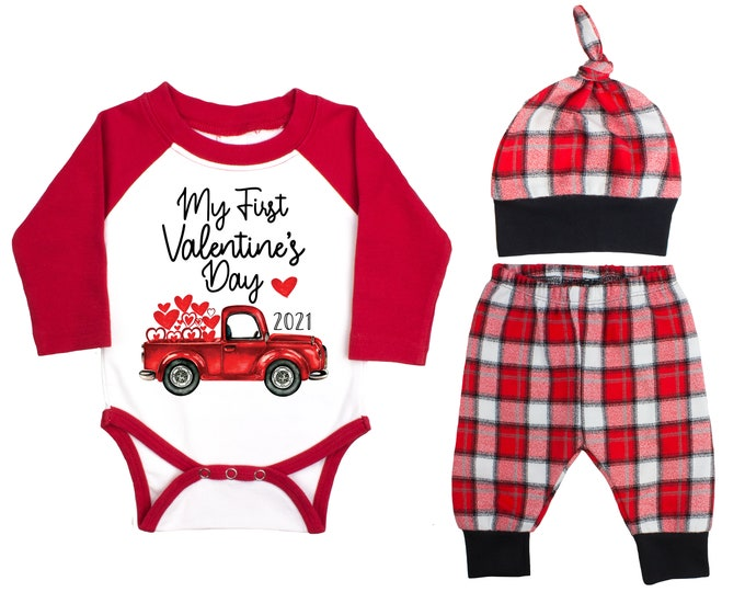 My First Valentine's Day 2021 Truck Personalized Raglan Outfit Boy Valentines Day Bodysuit Hearts Vintage Truck Buffalo Plaid Flannel Pants