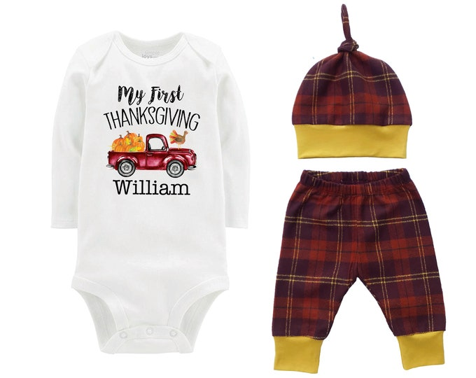 My First Thanksgiving Turkey Fall Personalized Vintage Truck Outfit Pumpkin Brown Rust Flannel Pants Baby Bodysuit Shirt Gift Top Knot Hat