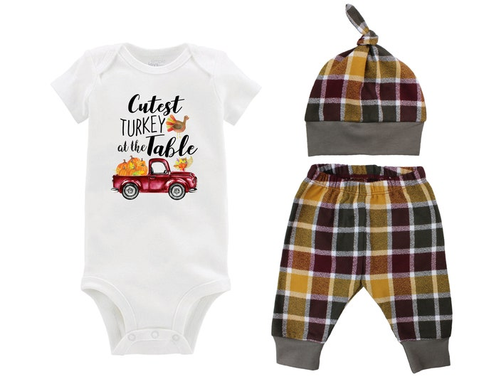 Boy Cutest Turkey At The Table Fall Truck Shirt Outfit Bodysuit Pumpkin Plaid Maroon Mustard Green Flannel Pants Baby Gift Top Knot Hat