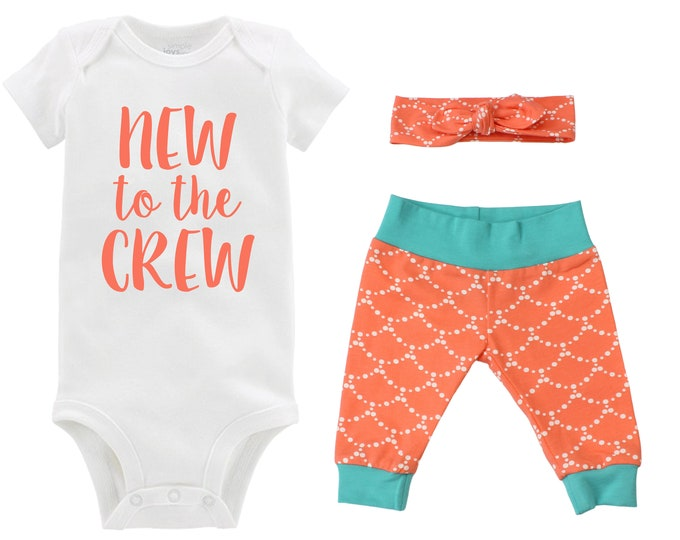 New to the Crew Going Girl Home Outfit Newborn Baby Infant Set Yoga Leggings Headband Orange Teal Infant Gift Set Baby Shower Gift