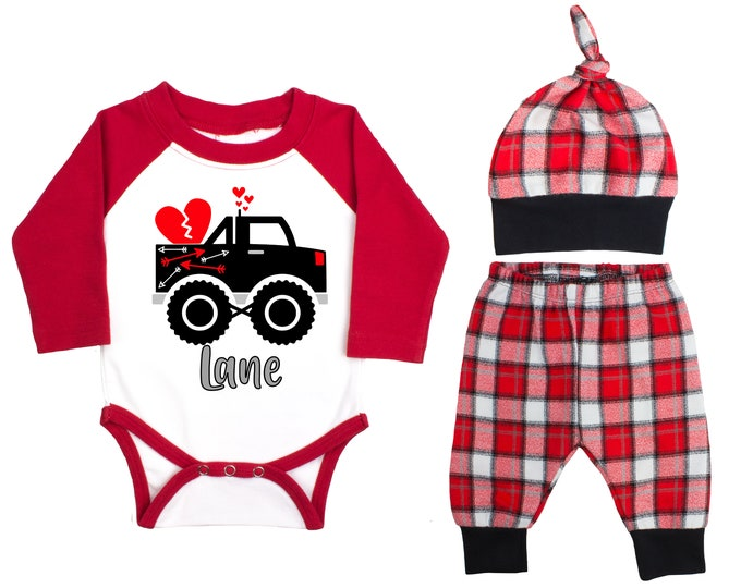 Baby Boy Valentine's Day Monster Truck Personalized Raglan Outfit Valentines Day Hearts Truck Bodysuit Baby Boy Buffalo Plaid Flannel Pants